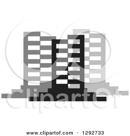 Clipart of Black and Gray Urban Commercial Skyscraper Buildings - Royalty Free Vector Illustration by ColorMagic