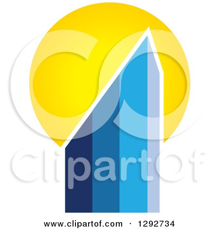 Clipart of a Gradient Blue Urban Commercial Skyscraper Building and Sunset - Royalty Free Vector Illustration by ColorMagic