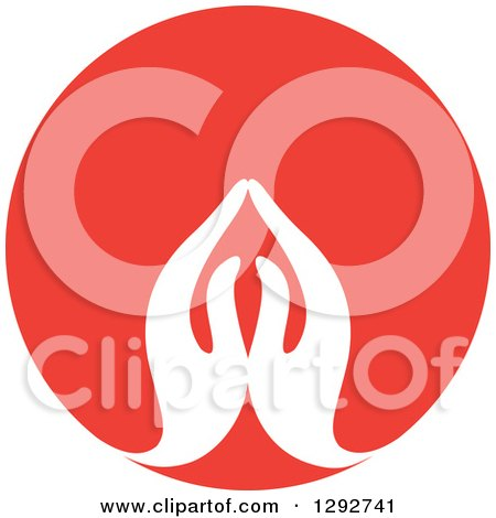 Clipart of a Pair of White Prayer or Namaste Hands in a Red Circle - Royalty Free Vector Illustration by ColorMagic