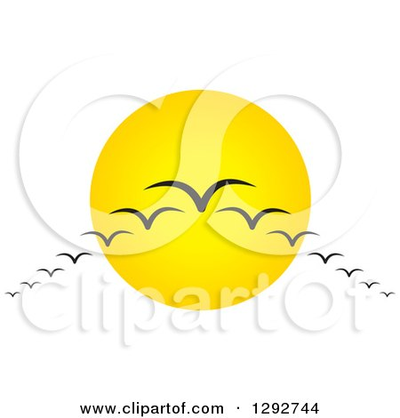 Clipart of a Group of Silhouetted Migratory Birds Flying in V Formation Against a Sun - Royalty Free Vector Illustration by ColorMagic