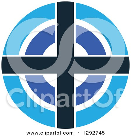 Clipart of a Blue White and Black Target - Royalty Free Vector Illustration by ColorMagic