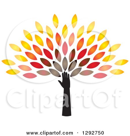Clipart of a Hand and Arm Forming the Trunk of a Tree with Colorful Autumn Leaves - Royalty Free Vector Illustration by ColorMagic