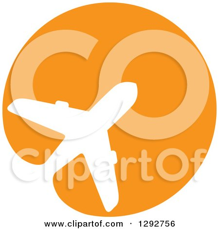 Clipart of a White Silhouetted Commercial Airplane Merging in an Orange Circle - Royalty Free Vector Illustration by ColorMagic