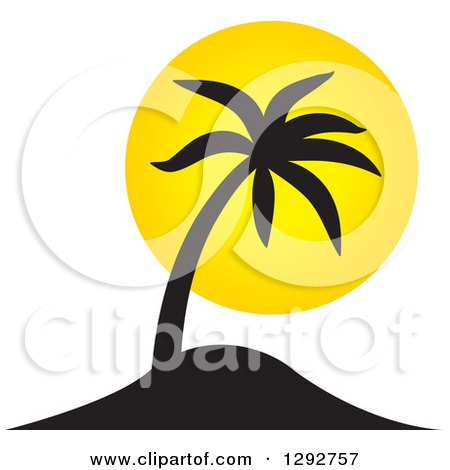 Clipart of a Black Tropical Silhouetted Palm Tree and Yellow Sunset - Royalty Free Vector Illustration by ColorMagic