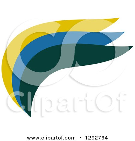 Clipart of an Abstract Flat Design of a Yellow Blue and Green Wave, Swoosh or Wing - Royalty Free Vector Illustration by ColorMagic