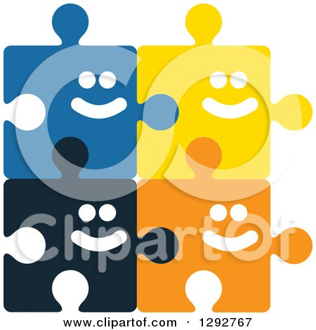 Clipart of Colorful Happy Smiling Connected Puzzle Pieces - Royalty Free Vector Illustration by ColorMagic