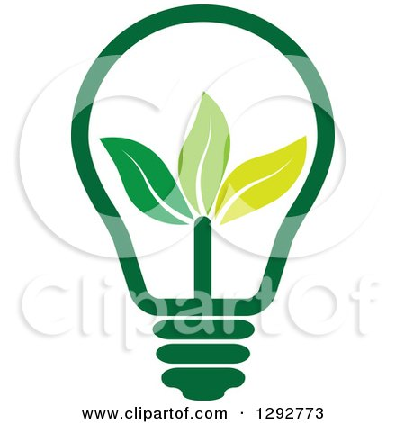 Clipart of a Green Energy Light Bulb with Leaves - Royalty Free Vector Illustration by ColorMagic