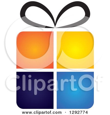 Clipart of a Gradient Four Colored Gift Box with a Black Bow - Royalty Free Vector Illustration by ColorMagic