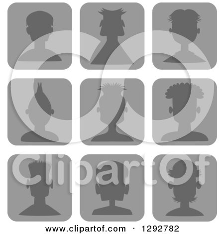 Clipart of Grayscale Silhouetted Male Avatar Head Icons with Different Hairstyles - Royalty Free Vector Illustration by Prawny