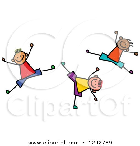 Clipart of Energetic Happy Stick Boys Jumping and Cartwheeling - Royalty Free Vector Illustration by Prawny