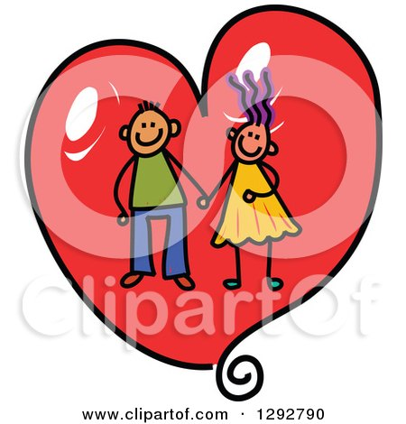 Clipart of a Happy Stick Boy and Girl Couple Holding Hands in Side a Red Valentine Love Heart - Royalty Free Vector Illustration by Prawny