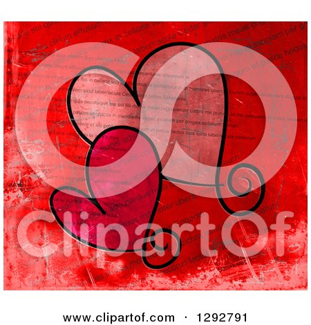 Clipart of Two Valentine Love Hearts over Distressed Printed Text - Royalty Free Illustration by Prawny