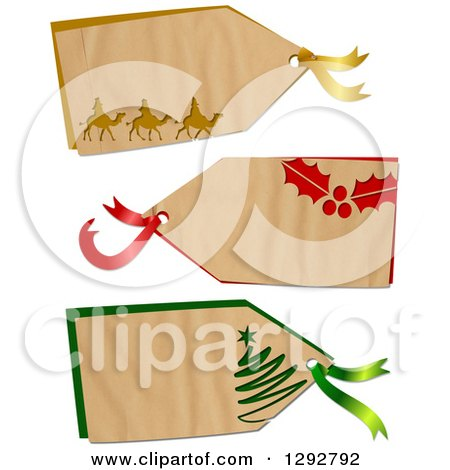 Clipart of a Parchment Paper Gift Tag Labels with Wise Men, Holly and a Christmas Tree, on a White Background - Royalty Free Illustration by Prawny