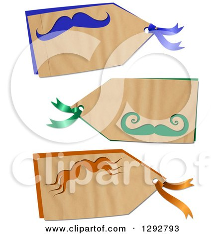 Clipart of a Parchment Paper Gift Tag Labels with Colorful Mustaches, on a White Background - Royalty Free Illustration by Prawny