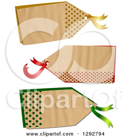 Clipart of a Parchment Paper Gift Tag Labels with Polka Dot Hole Punches over Color, on a White Background - Royalty Free Illustration by Prawny