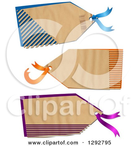Clipart of a Parchment Paper Gift Tag Labels with Cut Stripes Revealing Color, on a White Background - Royalty Free Illustration by Prawny