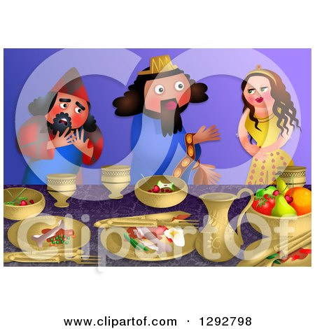 Clipart of the Scene of Esthers Banquet with the King and Haman - Royalty Free Illustration by Prawny