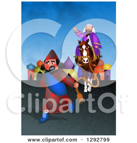 Clipart of a Jewish Purim Scene of Mordecai Honoured by an Angry Haman - Royalty Free Illustration by Prawny