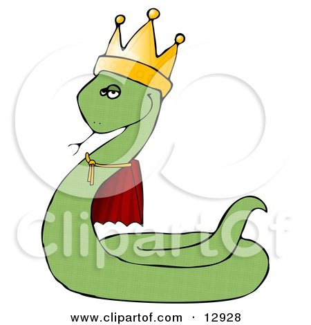 Proud Green King Snake in a Robe and Crown Clipart Illustration by djart
