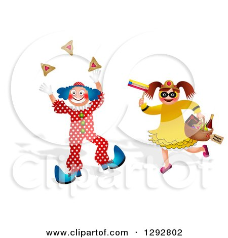 Clipart of a Boy in a Purim Clown Costume and Girl with Mishloach Manot - Royalty Free Illustration by Prawny