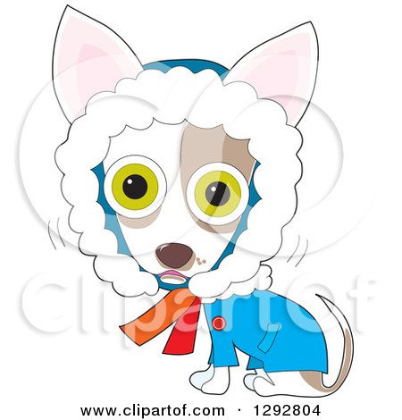 Dog Clipart of a Cartoon Cold Shivering Chilly Chihuahua in a Winter Coat - Royalty Free Pet Vector Illustration by Maria Bell