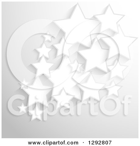 Clipart of a Background of 3d White Stars over Gray - Royalty Free Vector Illustration by KJ Pargeter
