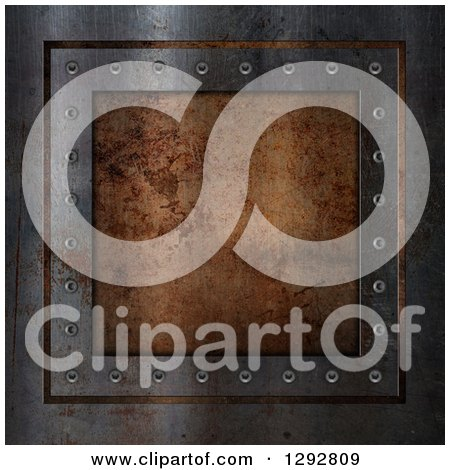 Clipart of a 3d Rusty Metal Plaque Background - Royalty Free Illustration by KJ Pargeter