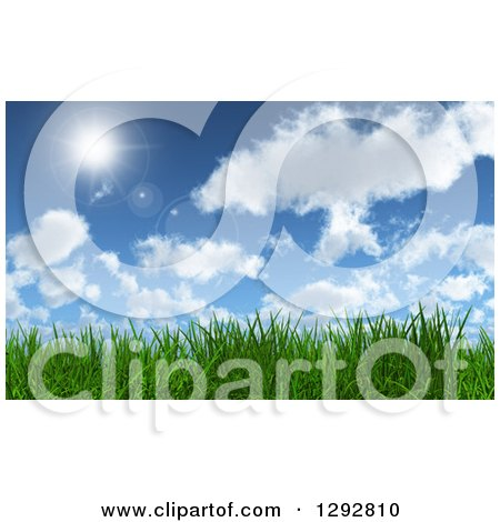 Clipart of a Background of 3d Green Grass Under a Blue Sky with Clouds and a Shining Sun - Royalty Free Illustration by KJ Pargeter