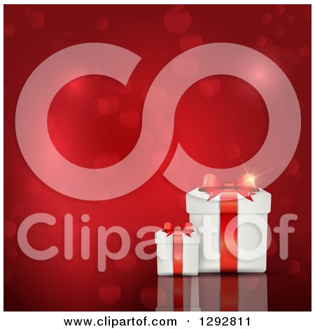 3d Valentines Day, Christmas, Birthday or Anniversary Gift Boxes with Bokeh Flares on Red Posters, Art Prints