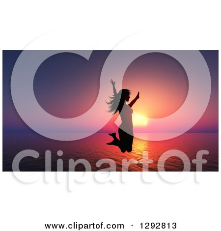 Clipart of a Silhouetted Happy Woman Jumping over a 3d Ocean Sunset - Royalty Free Illustration by KJ Pargeter