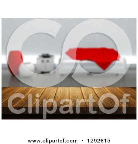 Clipart of a 3d Close up of a Wooden Table and a Blurred Modern White and Red Lobby or Living Room - Royalty Free Illustration by KJ Pargeter