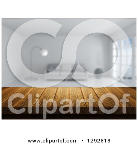 Clipart of a 3d Close up of a Wooden Table and a Blurred Modern White Lobby or Living Room - Royalty Free Illustration by KJ Pargeter