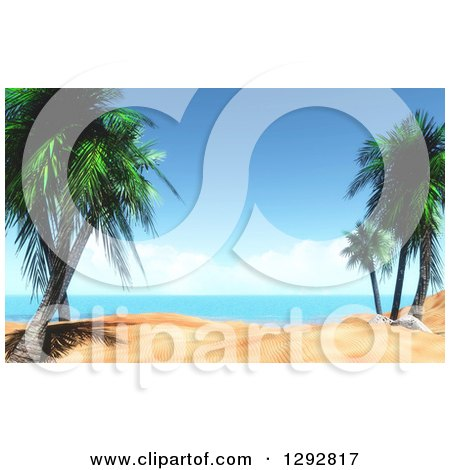 Clipart of a 3d Tropical Beach Scene with Palm Trees and White Sand - Royalty Free Illustration by KJ Pargeter