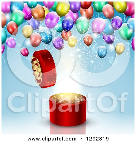 Clipart of a 3d Round Open Red Gift Box with Magic Light and Colorful Party Balloons over Blue - Royalty Free Vector Illustration by KJ Pargeter