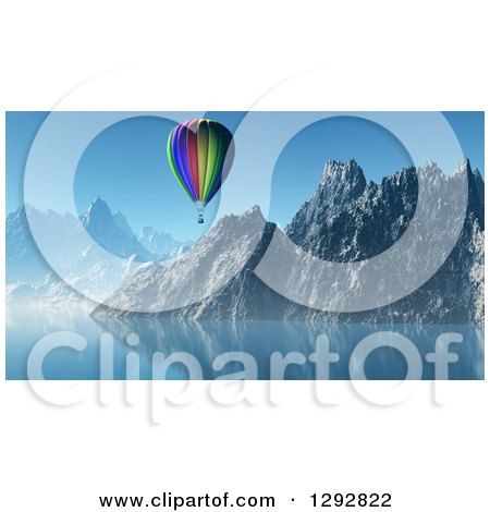 Clipart of a 3d Hot Air Balloon Floating Over a Lake and Mountains - Royalty Free Illustration by KJ Pargeter