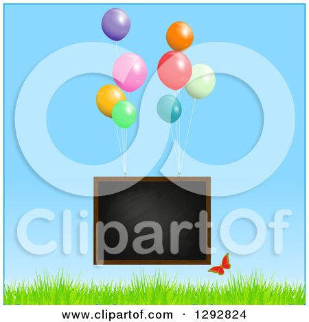 Clipart of a Floating Blackboard with Helium Party Balloons and Butterfly over Grass and Blue Sky - Royalty Free Vector Illustration by elaineitalia