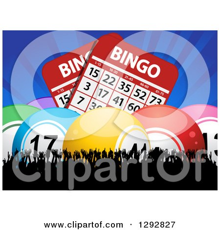 Clipart of 3d Colorful Bingo Balls and Giant Cards with Blue Rays over a Silhouetted Cheering Crowd - Royalty Free Vector Illustration by elaineitalia