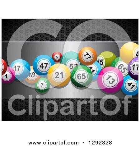 Clipart of 3d Colorful Bingo or Lottery Balls on a Silver Plaque over Black Perforated Metal - Royalty Free Vector Illustration by elaineitalia