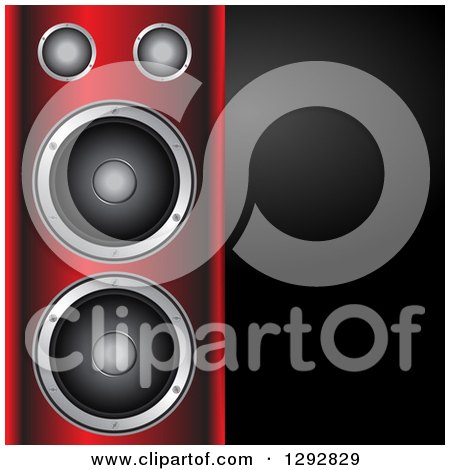 Clipart Of A 3d Music Speaker Tower With A Blank Black Panel Of Text Space Royalty Free Vector Illustration