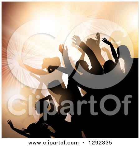 Clipart of a Group of Young Silhouetted Dancers Against Bright Lights and Orange Flares - Royalty Free Vector Illustration by KJ Pargeter
