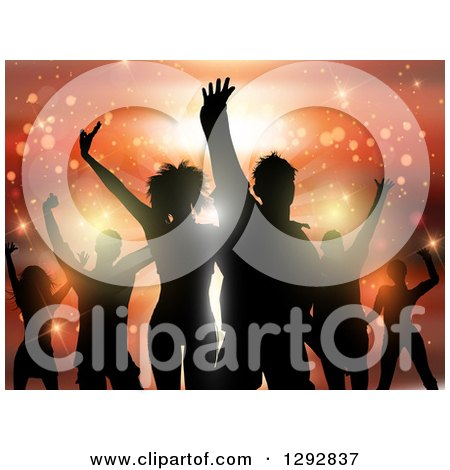 Clipart of a Group of Young Silhouetted Dancers Against Orange Flares and Lights - Royalty Free Vector Illustration by KJ Pargeter