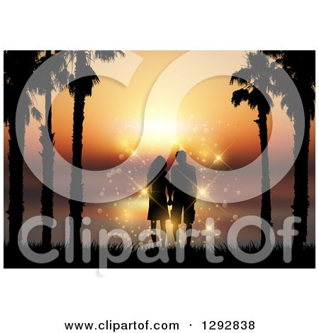 Clipart of a Romantic Silhouetted Couple Holding Hands Between Palm Trees Against an Orange Ocean Sunset - Royalty Free Vector Illustration by KJ Pargeter
