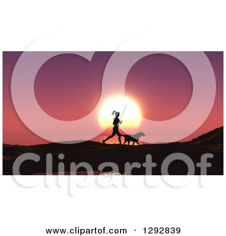 Clipart of a Silhouetted Fit Woman Jogging with Her Dog Against a Pink Ocean Sunset - Royalty Free Illustration by KJ Pargeter
