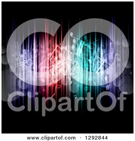 Clipart of a Background of Floating Music Notes, Bokeh Flares and Colorful Lights on Black - Royalty Free Vector Illustration by KJ Pargeter