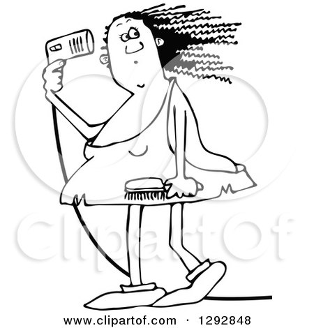 Clipart of a Chubby Black and White Cavewoman Blow Drying Her Hair - Royalty Free Vector Illustration by djart