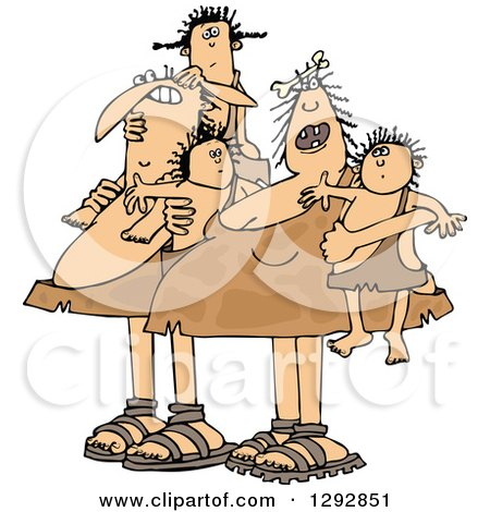 Clipart of a Chubby Caveman Dad and Mom with Children - Royalty Free Vector Illustration by djart