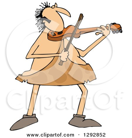 Clipart of a Chubby Sophisticated Caveman Playing a Violin - Royalty Free Vector Illustration by djart