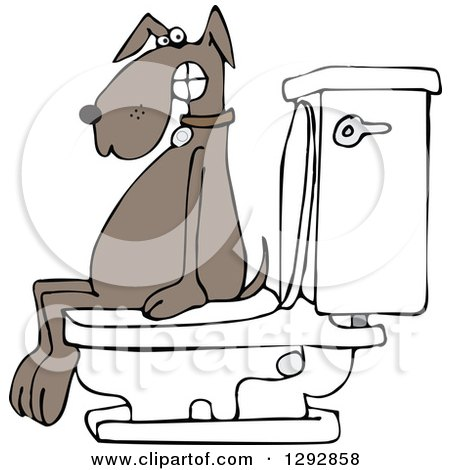 Clipart of a Brown Dog Pooping on a Toilet - Royalty Free Vector Illustration by djart