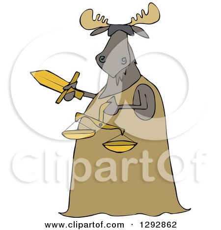 Clipart of a Blindfolded Lady Justice Moose Holding a Sword and Scales - Royalty Free Vector Illustration by djart