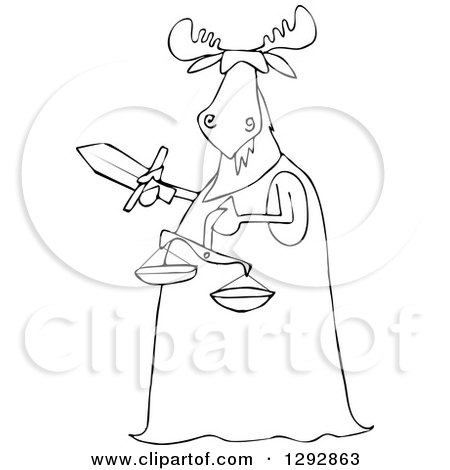 Clipart of a Blindfolded Black and White Lady Justice Moose Holding a Sword and Scales - Royalty Free Vector Illustration by djart